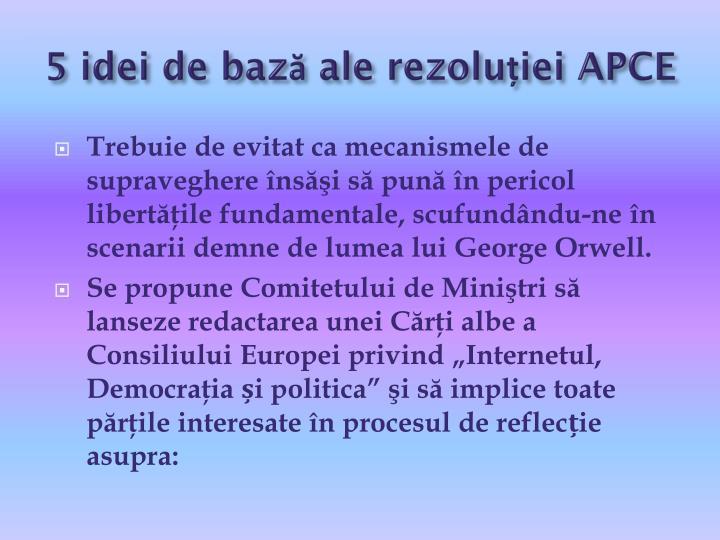 5 idei de bază ale rezoluției APCE