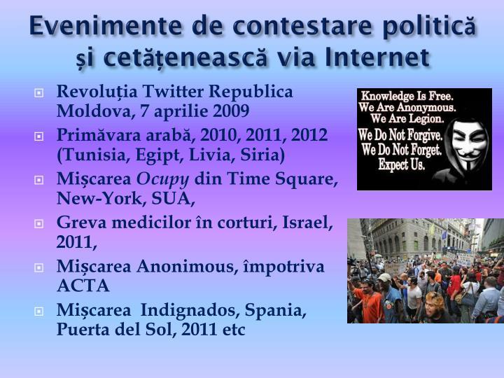 Evenimente de contestare politică și cetățenească via Internet