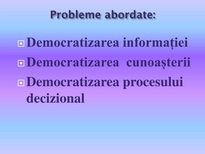 Probleme abordate