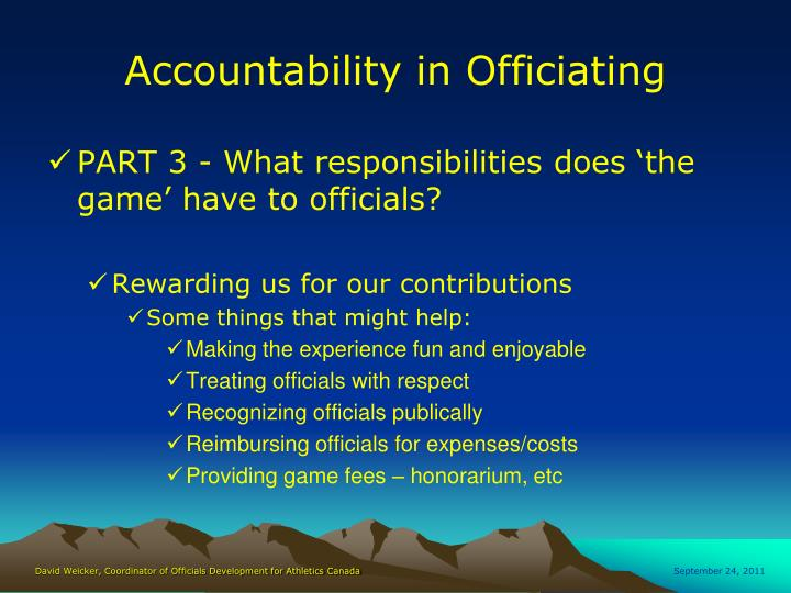 Accountability in Officiating