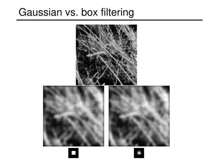 Gaussian vs. box filtering