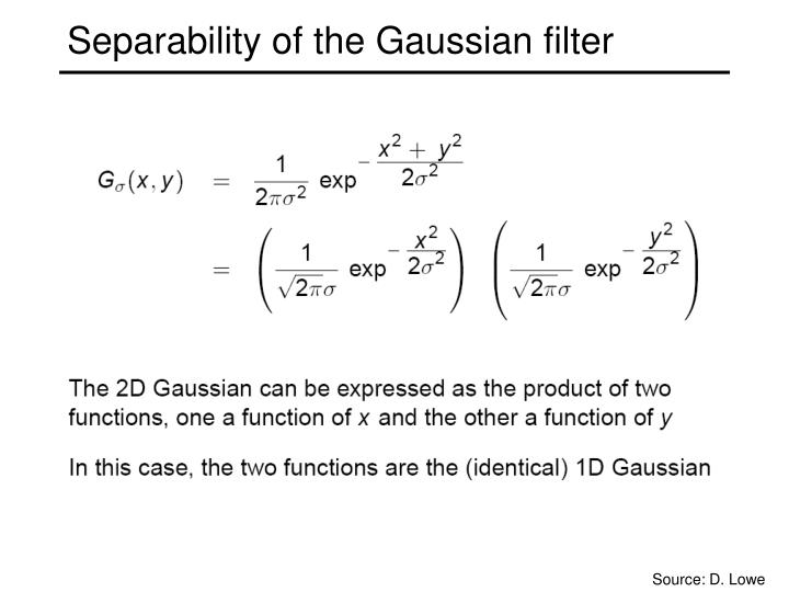 Separability of the Gaussian filter