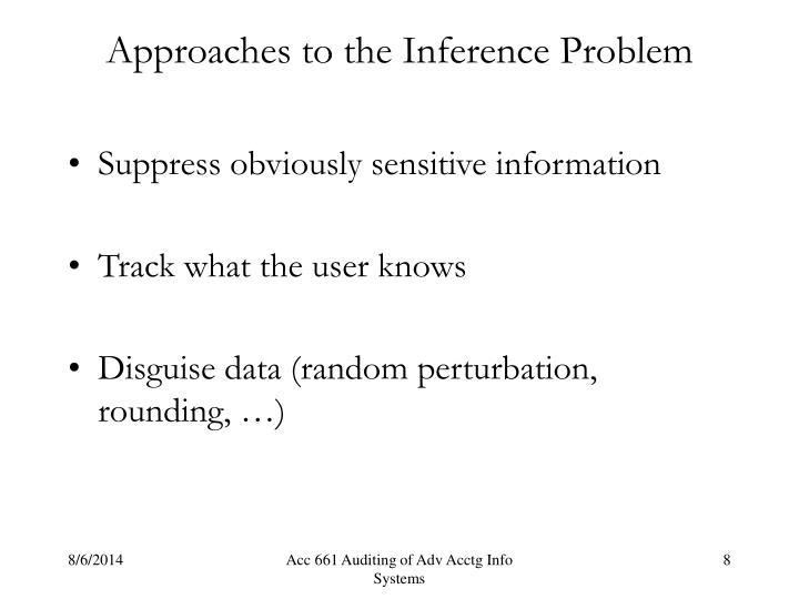 Approaches to the Inference Problem