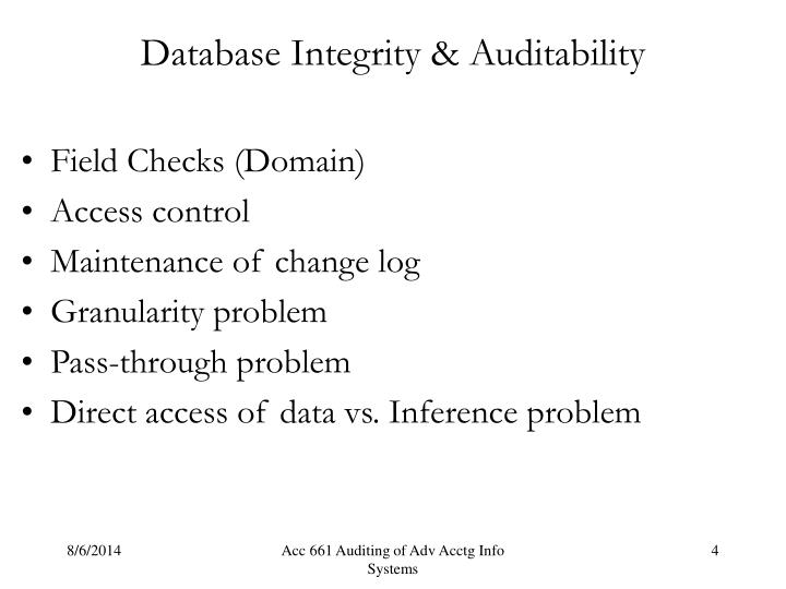 Database Integrity & Auditability