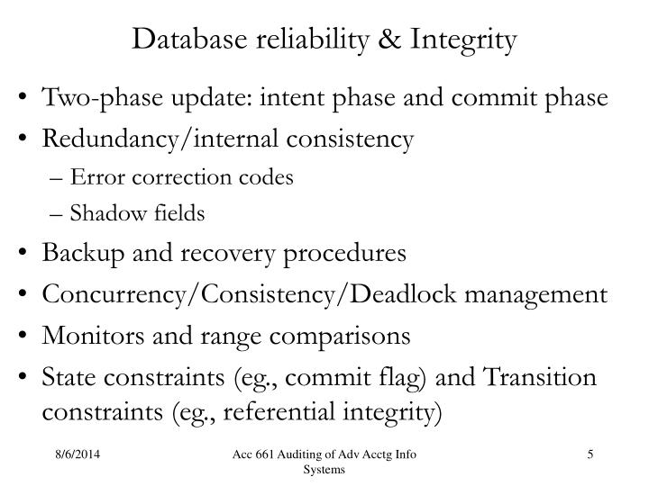 Database reliability & Integrity