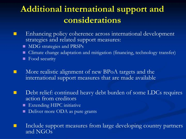 Additional international support and considerations