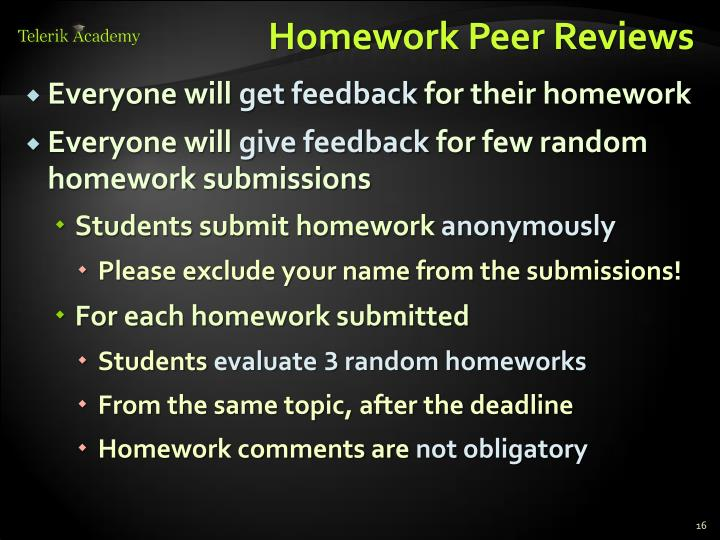 Homework Peer Reviews
