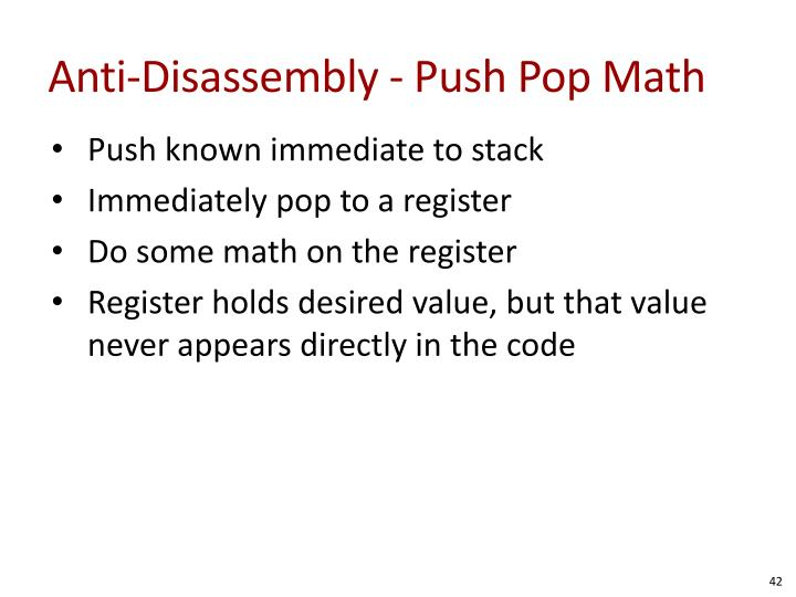 Anti-Disassembly - Push Pop Math