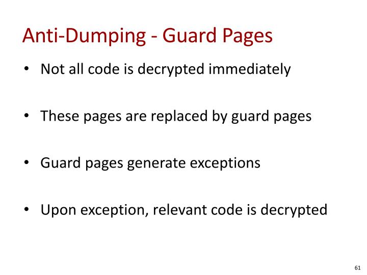 Anti-Dumping - Guard Pages