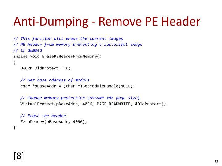 Anti-Dumping - Remove PE Header