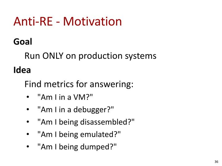 Anti-RE - Motivation