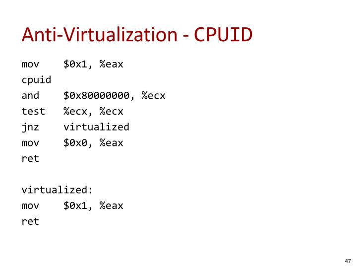 Anti-Virtualization -