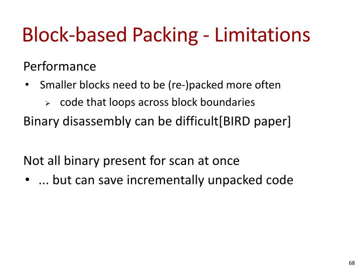 Block-based Packing - Limitations