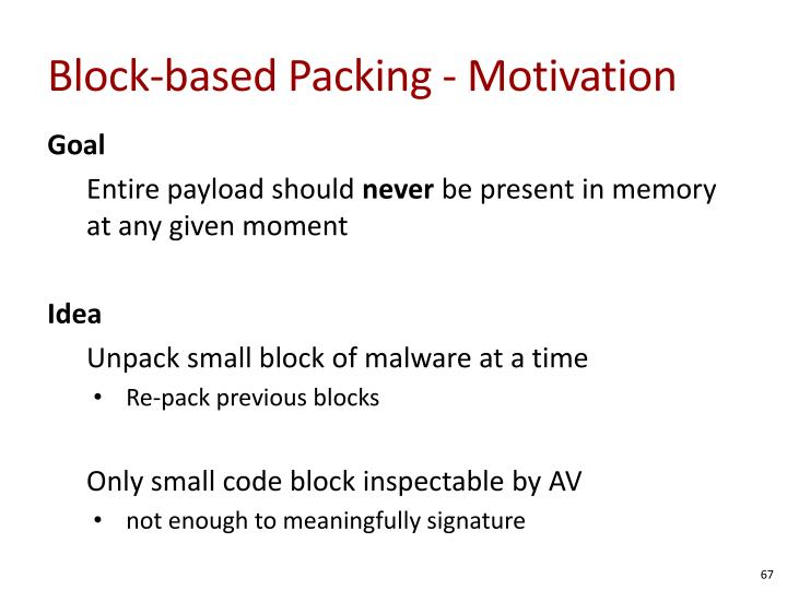 Block-based Packing - Motivation