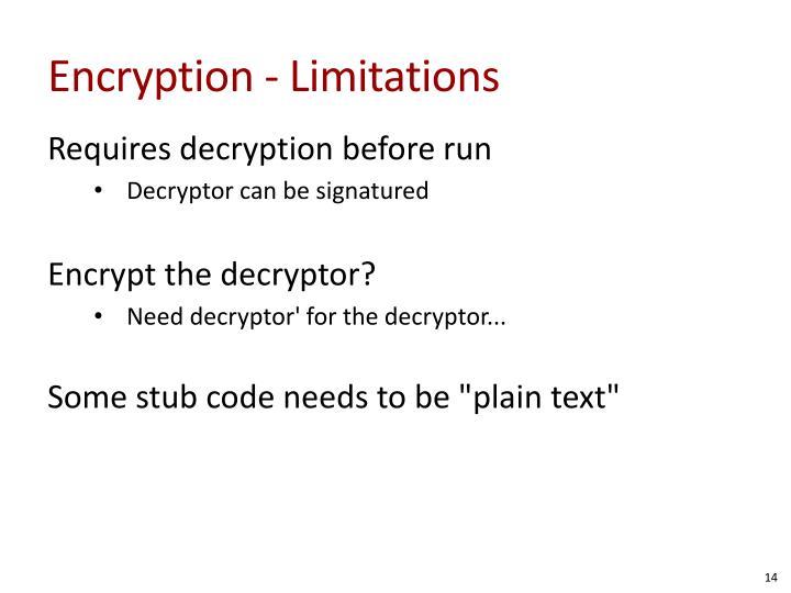 Encryption - Limitations