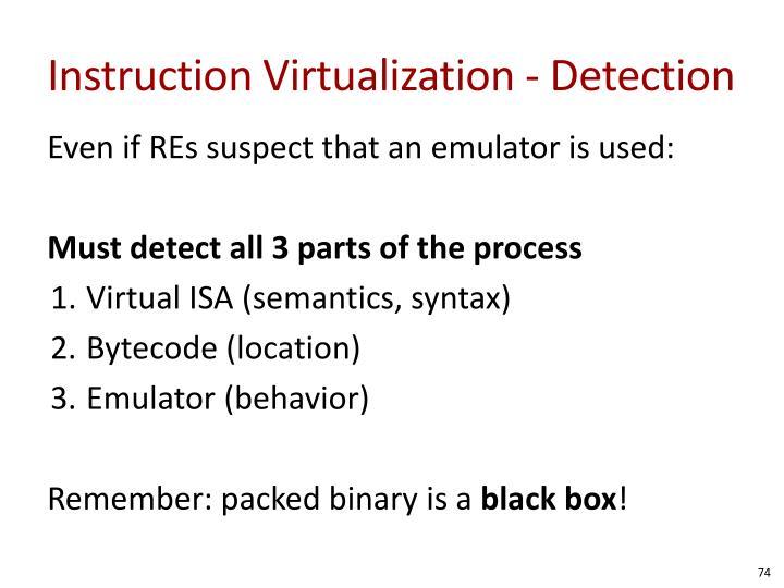 Instruction Virtualization - Detection