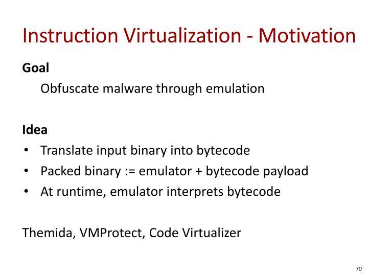 Instruction Virtualization - Motivation
