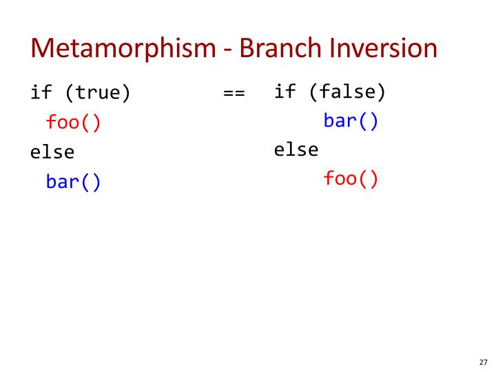 Metamorphism - Branch Inversion