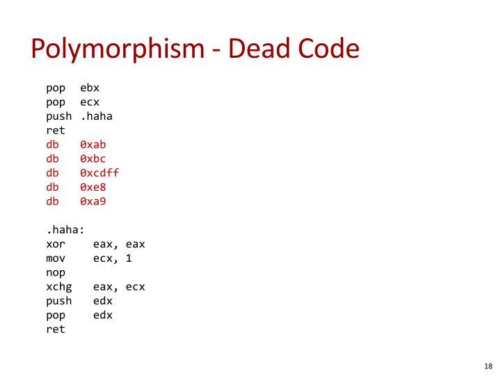 Polymorphism - Dead Code