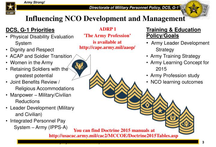 Influencing nco development and management