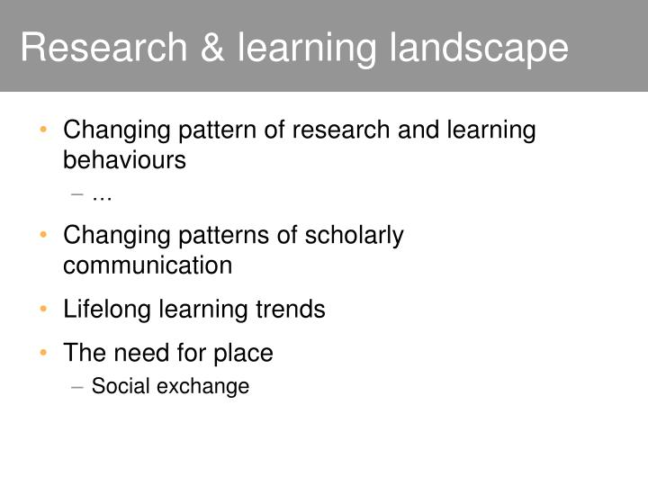 Research & learning landscape