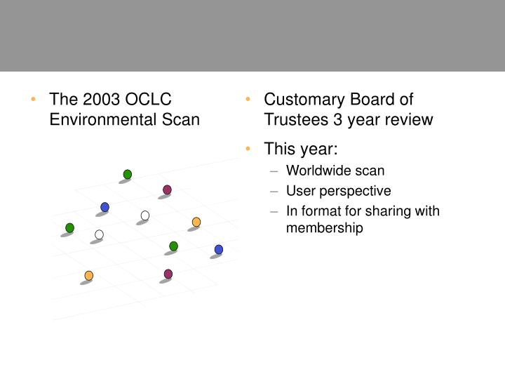 The 2003 OCLC Environmental Scan