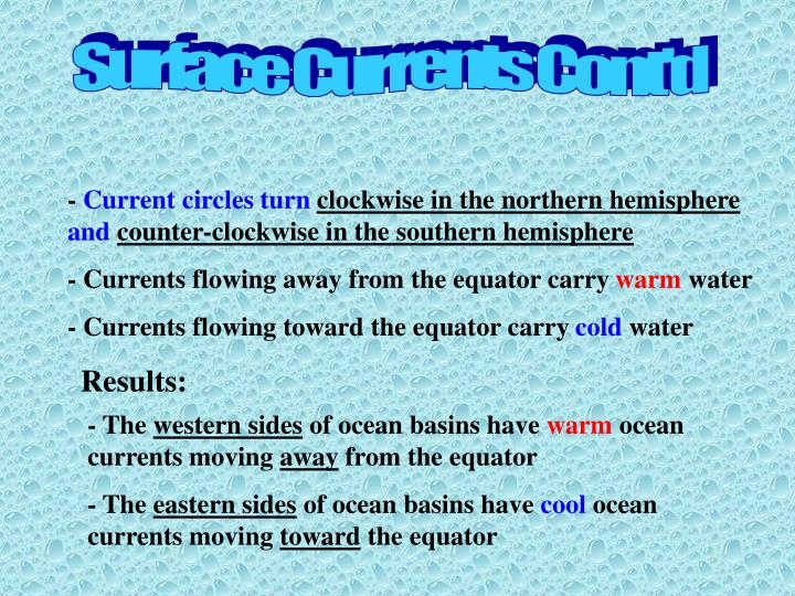 Surface Currents Cont'd