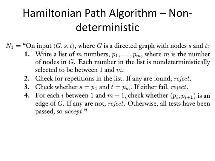 Hamiltonian Path Algorithm – Non-deterministic