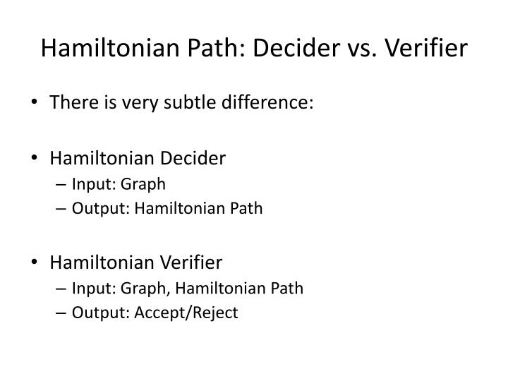 Hamiltonian Path: Decider vs. Verifier