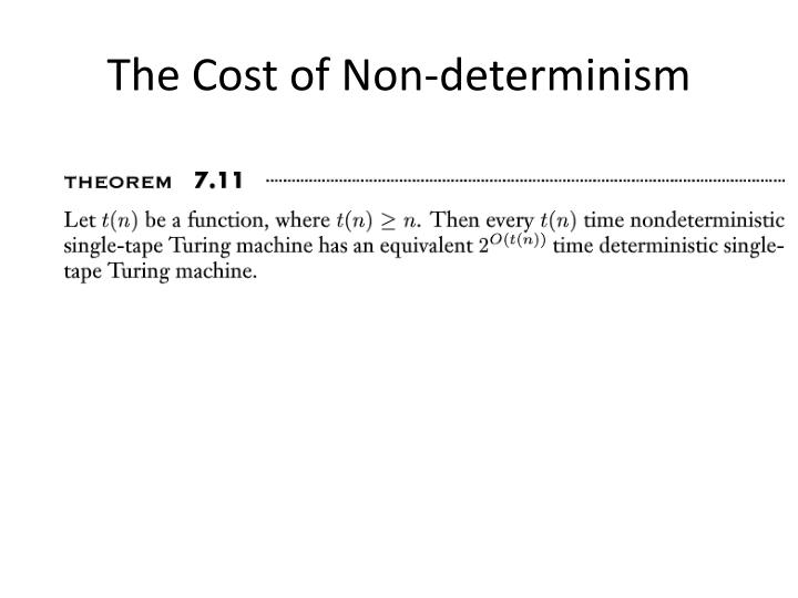 The Cost of Non-determinism