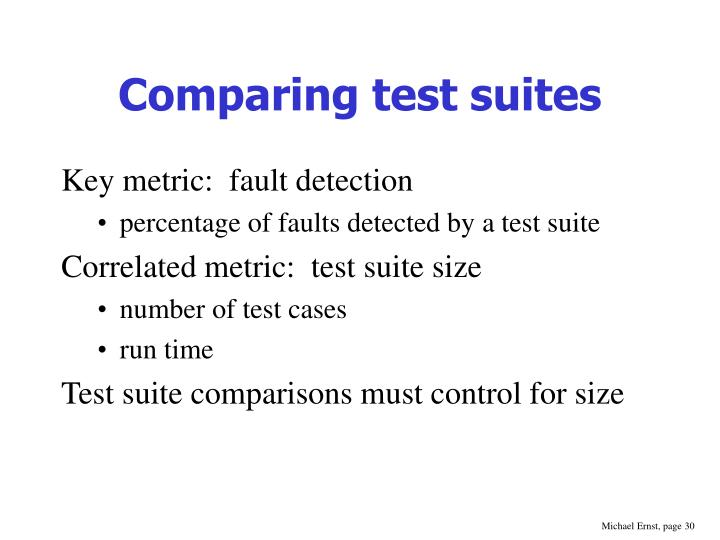 Comparing test suites