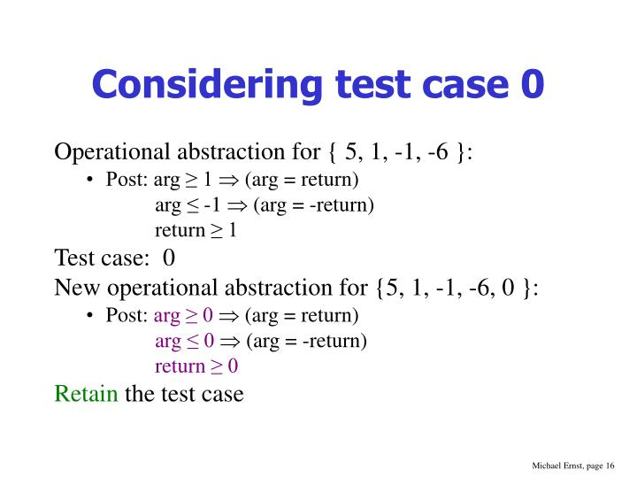 Considering test case 0