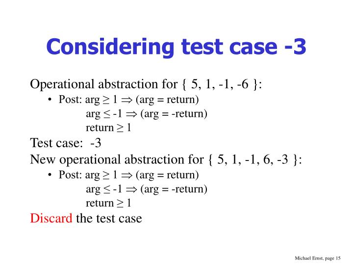 Considering test case -3