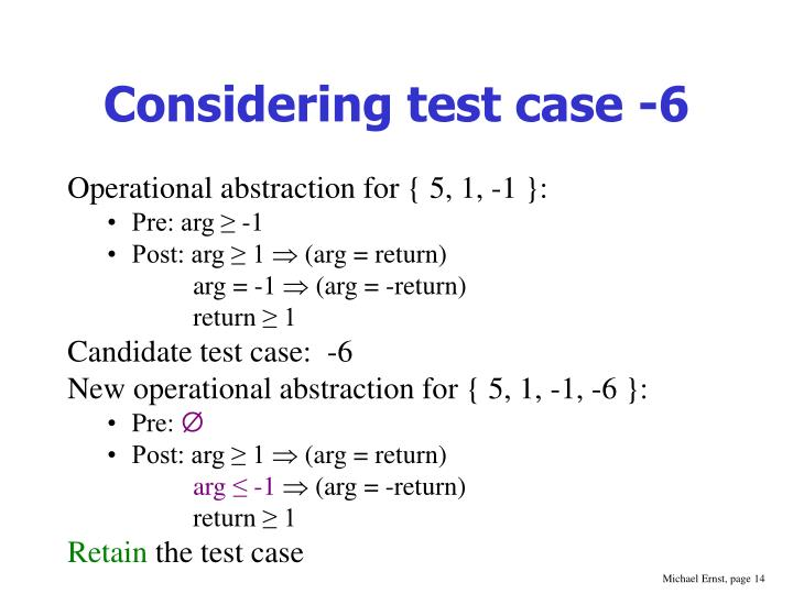 Considering test case -6