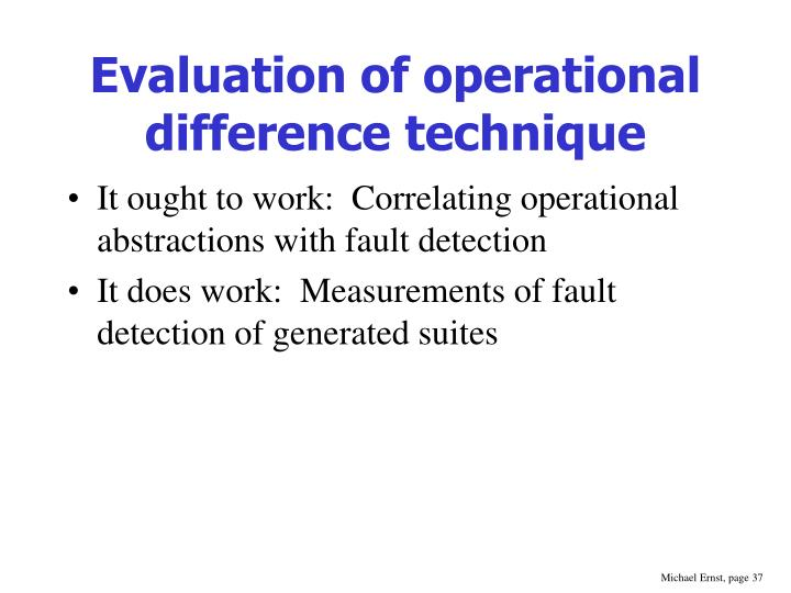 Evaluation of operational difference technique