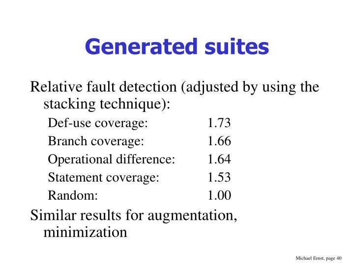 Generated suites