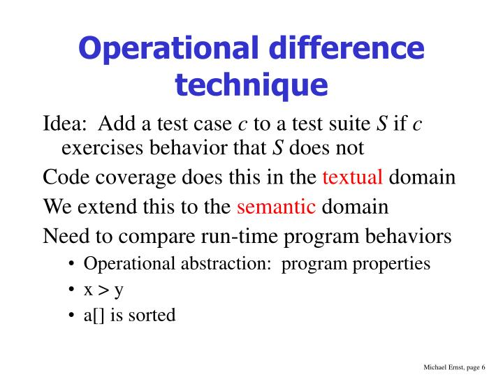 Operational difference technique