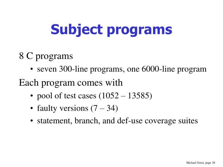 Subject programs