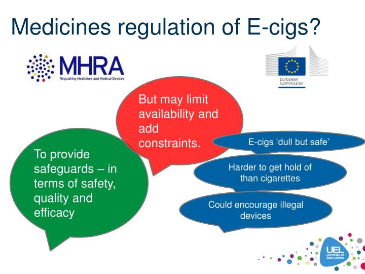 Medicines regulation of E-cigs?