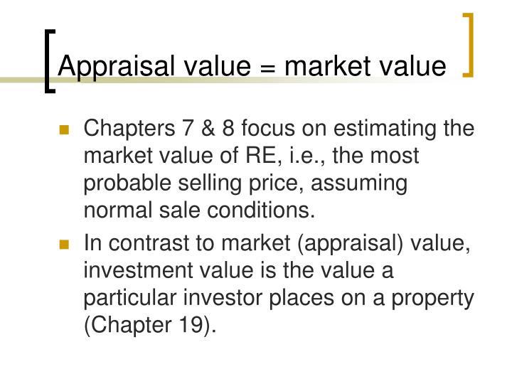 Appraisal value = market value