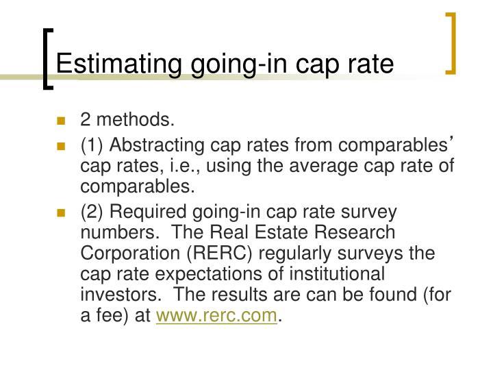 Estimating going-in cap rate