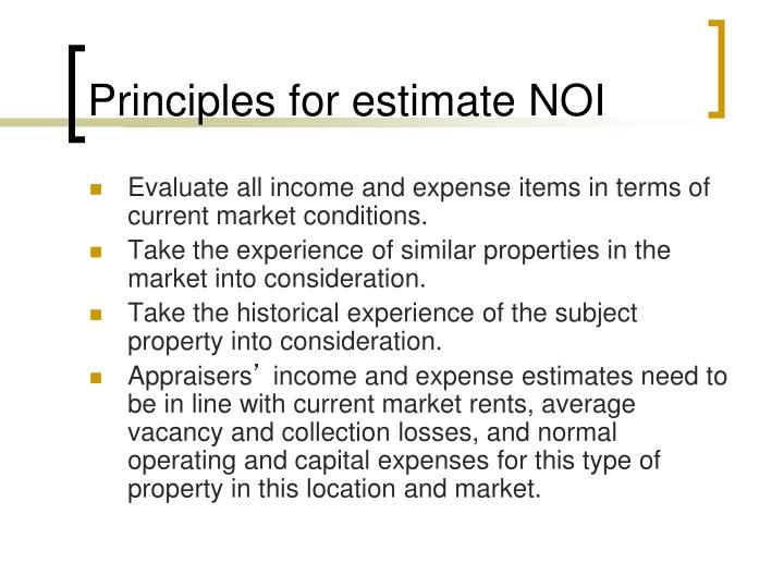Principles for estimate NOI
