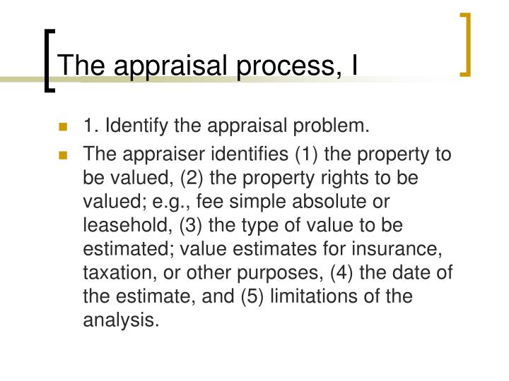 The appraisal process, I