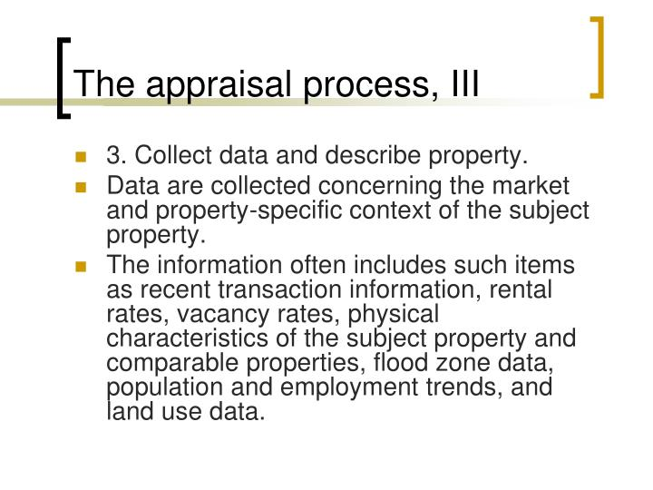 The appraisal process, III