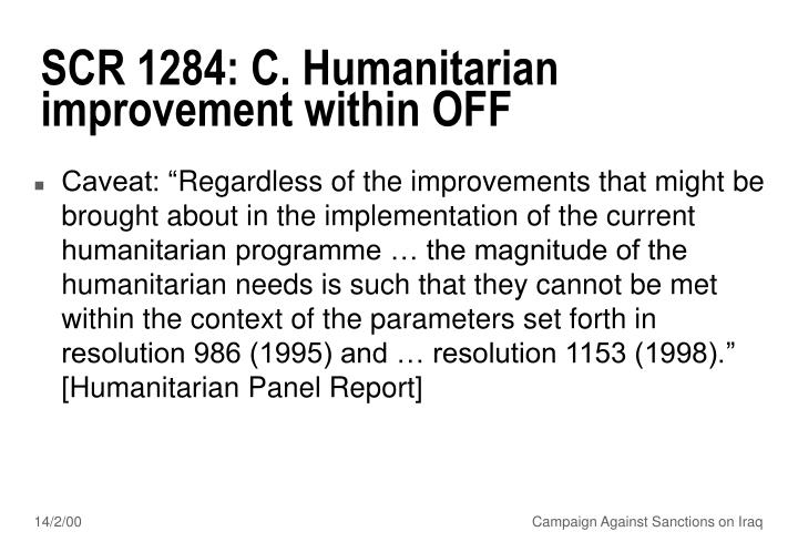 SCR 1284: C. Humanitarian improvement within OFF