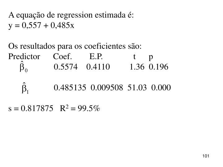 A equação de regression estimada é: