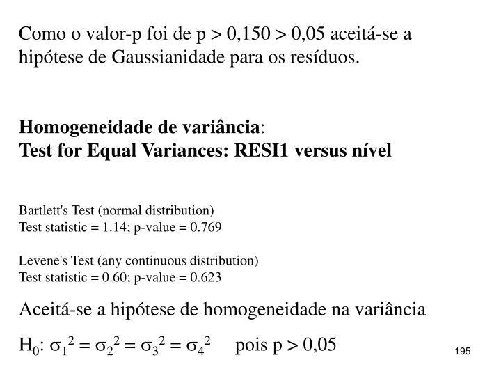 Como o valor-p foi de p > 0,150 > 0,05 aceitá-se a hipótese de Gaussianidade para os resíduos.