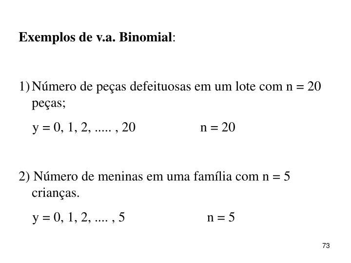 Exemplos de v.a. Binomial
