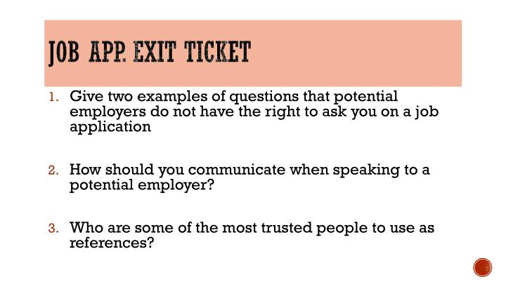 Job app. Exit Ticket