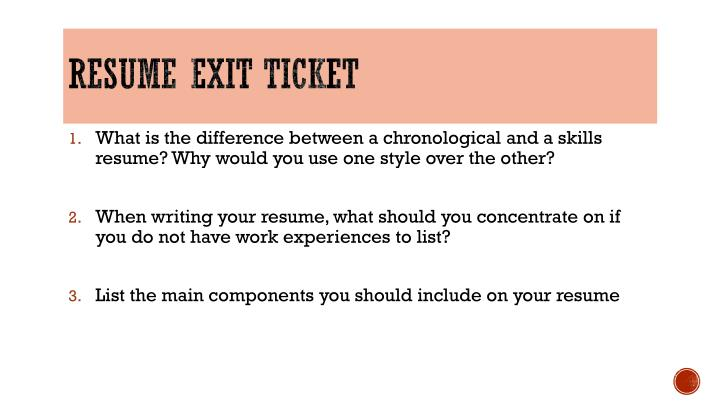 Resume exit ticket